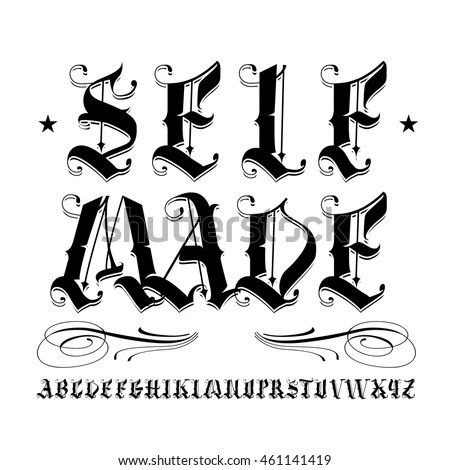 Famous Tattoo Old English Vector Lettering Stock Vector
