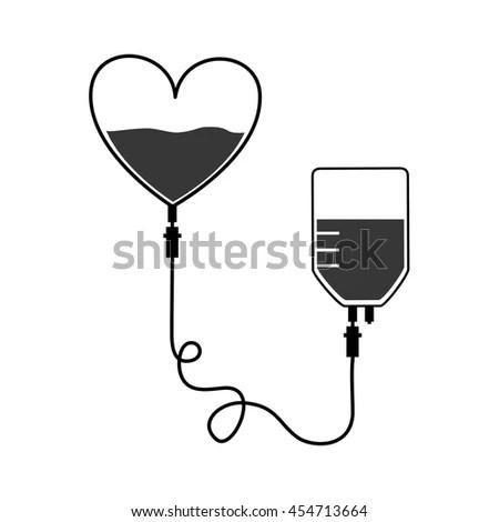 Blood Donation Heart Save Vector Illustration Stock Vector