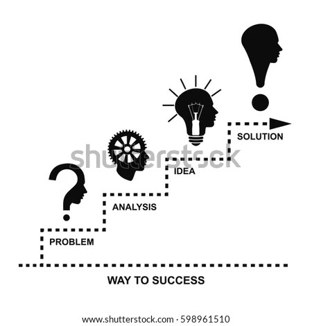 Way Success Problem Analysis Idea Solution Stock Vector