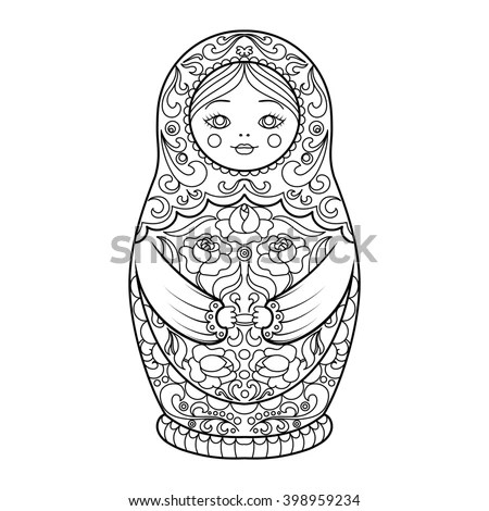 Black White Vector Illustration Four Matryoshka Stock