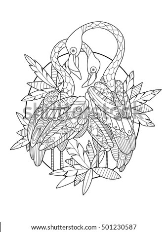 Outline-flamingo-bird Stock Images, Royalty-Free Images