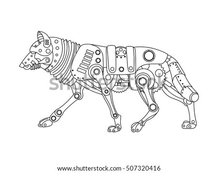 Steampunk Style Wolf Mechanical Animal Coloring Stock