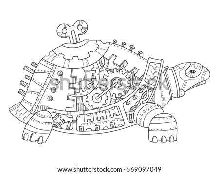 Steampunk Style Turtle Mechanical Animal Coloring Stock