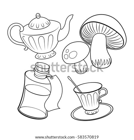 Objects Fairy Tale Coloring Book Vector Stock Vector