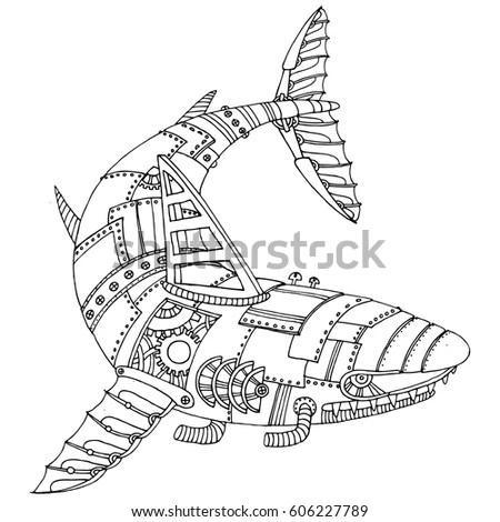 Steam Punk Style Shark Mechanical Animal Stock Vector