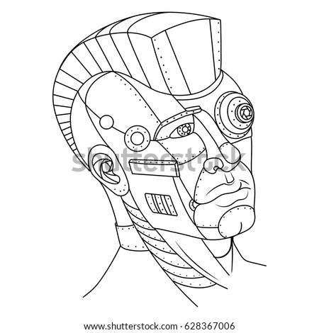 Steam Punk Style Man Head Robot Stock Vector 628367006