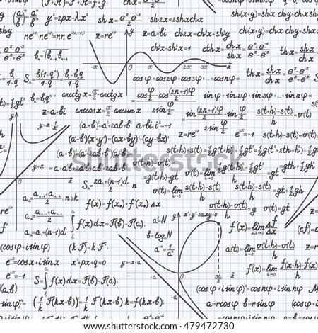 Seamless Background Math Formulas On Blackboard Stock