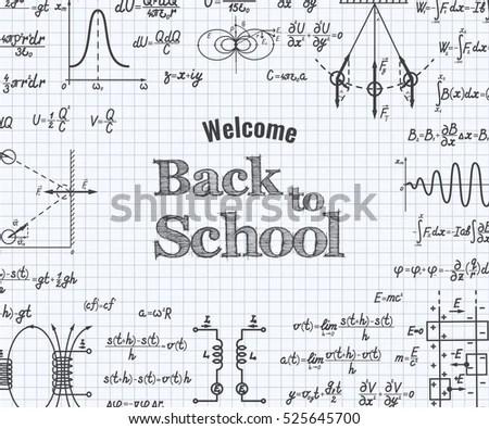 Welcome Back School Physics Formulas Figure Stock Vector