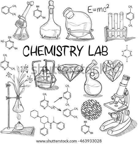Hand Drawn Science Vintage Chemistry Lab Stock Vector