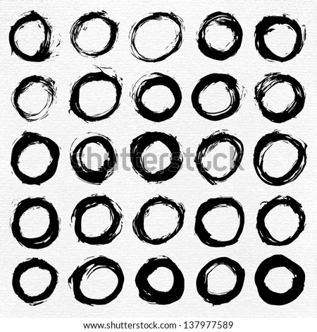 25 Circle Form Black Brush Stroke Stock Vector 137977589