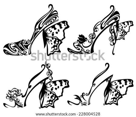 Dinosaur Decorative Ornament Animal Drawing Floral Stock