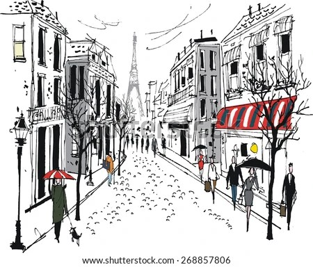 Vector Illustration French City Street Scene Stock Vector
