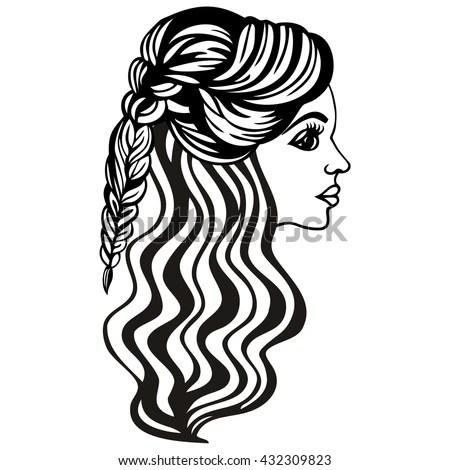 Beautiful Fashionable Womens Hairstyle On Long Stock