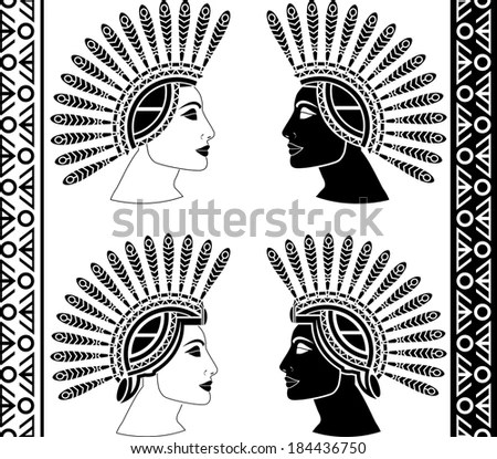 Native American Indian Headdress Stencils Vector Stock
