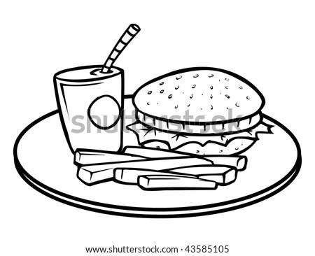 Cartoon Vector Outline Illustration Bread Slice Stock