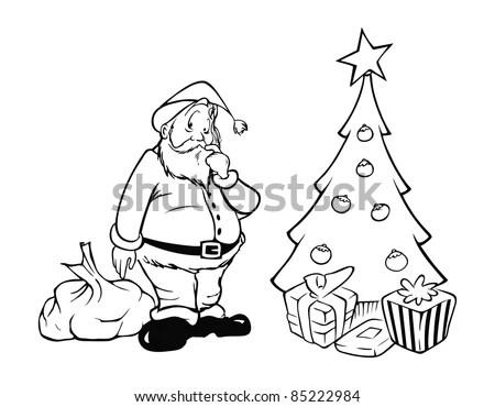 Cartoon Outline Vector Illustration Santa Christmas Stock