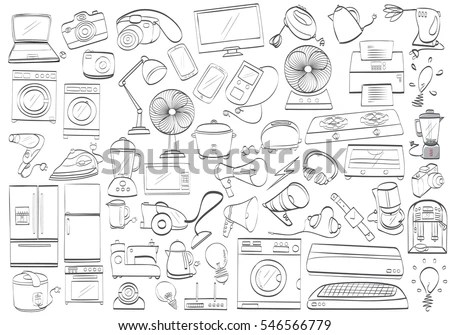 Black White Electronic Products Isolated Drawing Stock