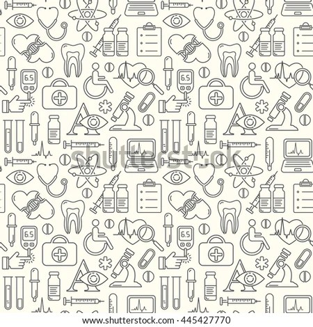 Seamless Medical Background Line Style Icons Stock