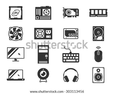 Computer Components Icon Set Processor Motherboard Stock