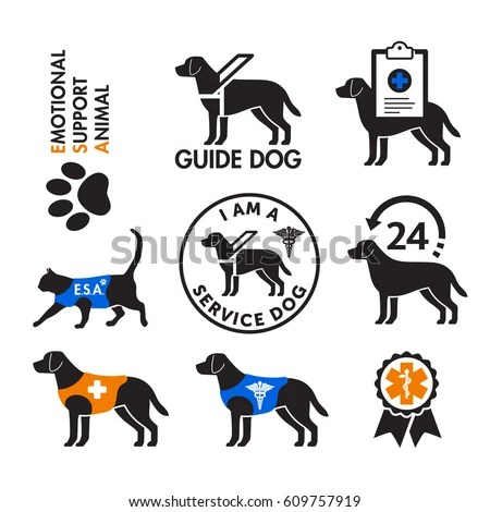 Service Dogs Emotional Support Animals Signs Stock Vector