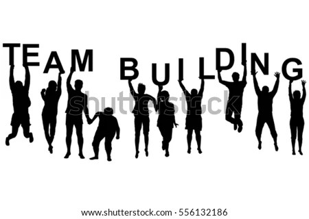 Team Building Concept Silhouettes Women Men Stock Vector