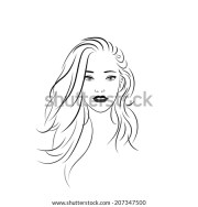beautiful woman side face coloring