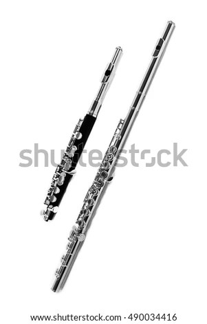 Flute Piccolo Big Flute Instrument Isolated Stock Photo