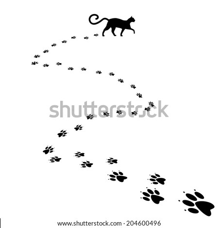 Cat Paw Print Background Eps 10 Stock Vector 204600496