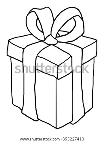 Gift Box Black White Outline Vector Stock Vector (Royalty