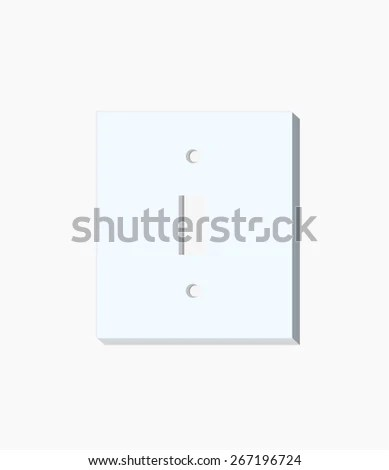 White Light Switch Faceplate On White Stock Photo