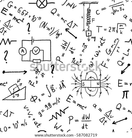 Science Doodle Background Seamless Vector Texture Stock