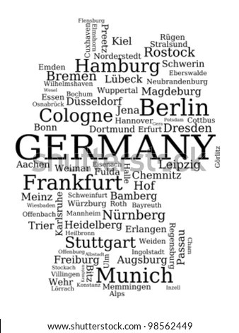 Map Germany Outline Made City Names Stock Vector 98562449