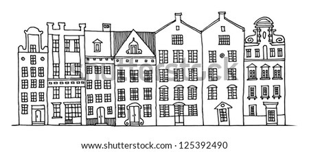 Vector Illustration Building Amsterdam Outline Design