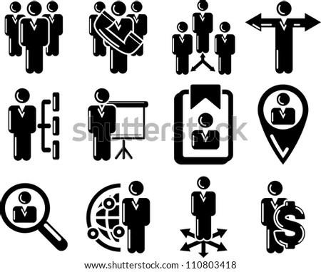 Management Human Resource 25 Icons Blackandwhite Stock