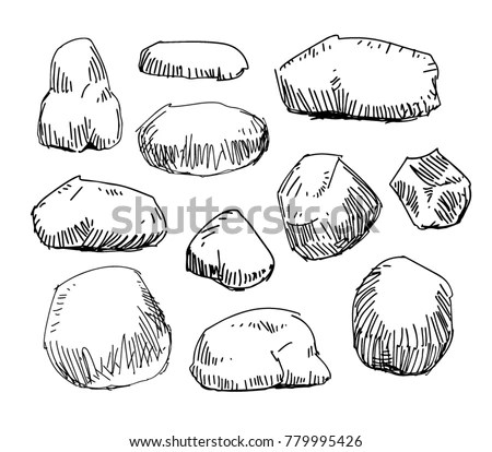 Rock Stone Hand Sketch Line Drawing Stock Vector 779995426