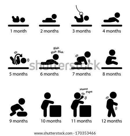 Baby Development Stages Milestones First One Stock Vector