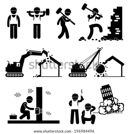 Demolition Worker Demolish Building Stick Figure Image