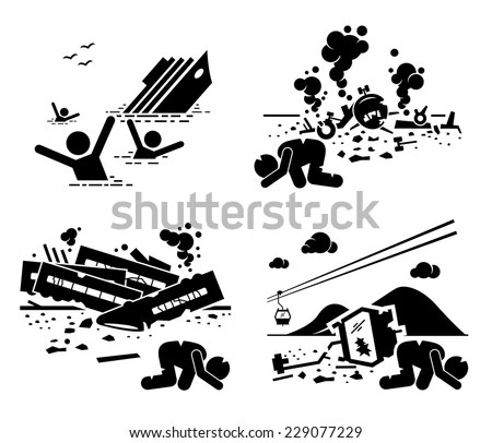 Disaster Accident Tragedy Sinking Ship Airplane Stock