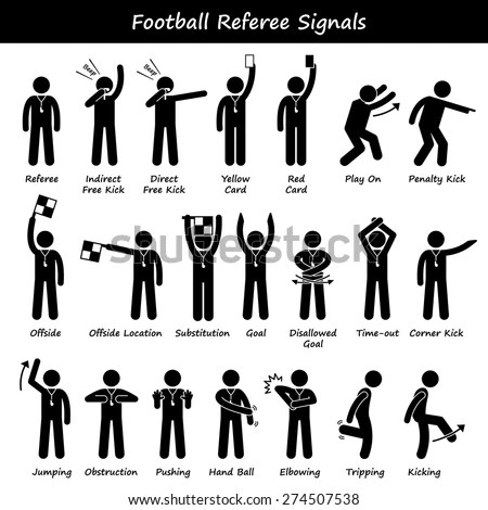 Football Soccer Referees Officials Hand Signals Stick