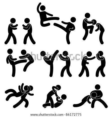 Fight Fighter Muay Thai Boxing Karate Stock Vector