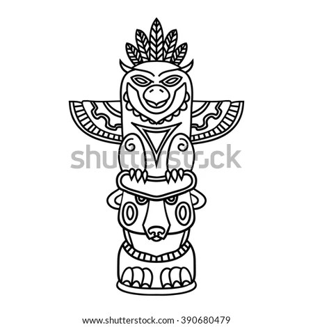 Doodle Traditional Tribal Totem Pole Isolated Stock Vector