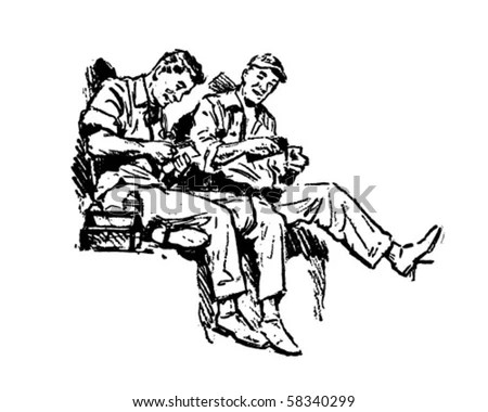 Shop Talk Workers On Lunch Break Stock Vector 58340299