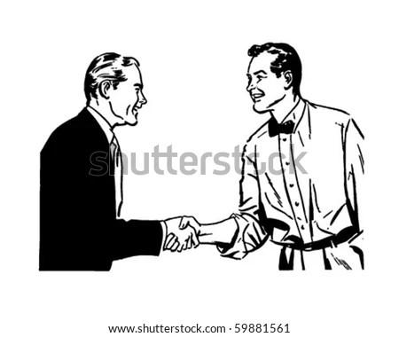 Hearty Handshake Retro Clip Art Stock Vector 59881561