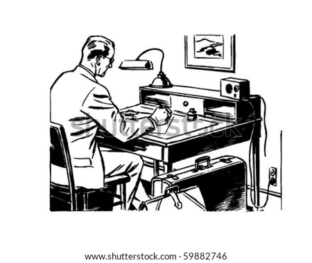 Man Working Desk Retro Clip Art Stock Vector 59882746