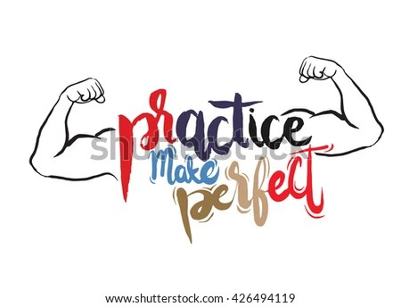 Practice Makes Perfect Printstrong Arm Modern Stock Vector