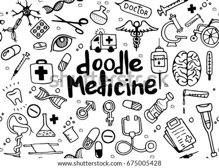 Pharmaceutical Pharmacist Doodle Handwriting Icons