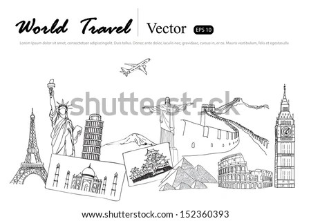 Drawing Travel Around World Japanfranceitaly New Stock