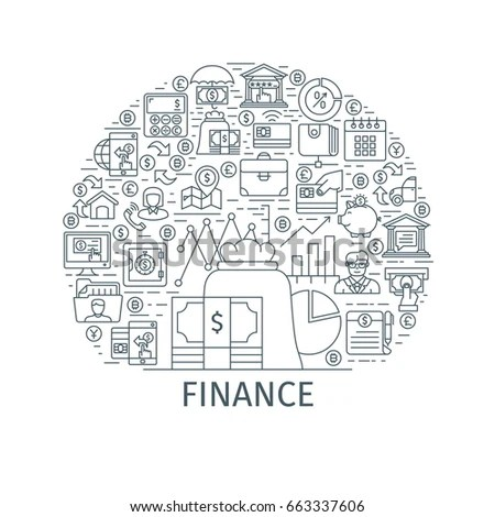 Finance Concept Design Template Thin Line Stock Vector