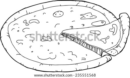 Outline cartoon of slice being removed from pizza  stock