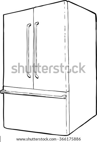 Outline Refrigerator French Doors Freezer Drawer Stock
